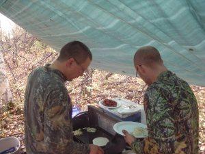 Hot cakes, eggs, an bacon!